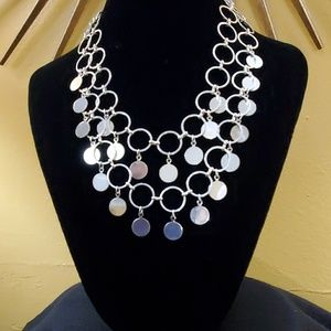 LOFT Dangle Disc Statement Necklace #746